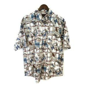 Duxbak Mens Vintage Button Up Hawaiian Shirt